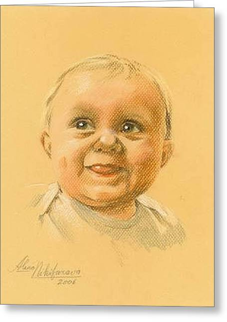 Pastel Portrait Of Baby. Commission. Greeting Card by Alena Nikifarava