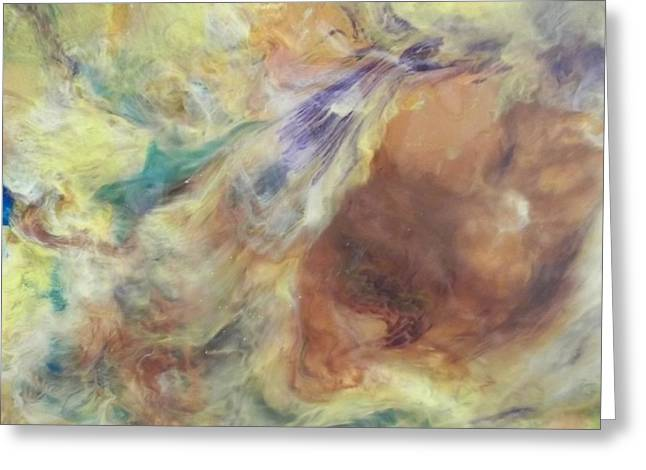 Acrylic Pour Greeting Cards - Pastel Pour Greeting Card by Sonya Wilson