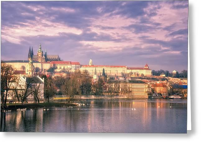 Hradcany Greeting Cards - Pastel Prague Morning Greeting Card by Joan Carroll