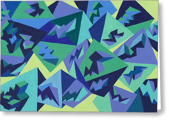 Abstract Geometric Pastels Greeting Cards - Pastel Pyramids Greeting Card by Sean Corcoran