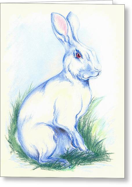 Creature Pastels Greeting Cards - White Rabbit in the Grass Greeting Card by MM Anderson