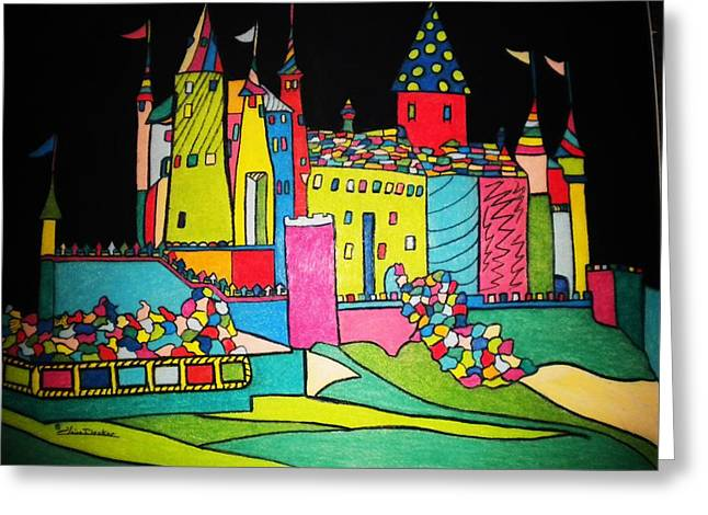 Renaissance Pastels Greeting Cards - Pastel Renaissance Castle Greeting Card by Claire Decker