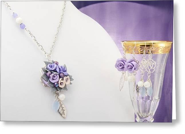 Sculpture Jewelry Greeting Cards - Pastel Rose and Lily Bouquet on Chalcedony Necklace with Two Pairs of Matching Earrings  Greeting Card by WDM Gallery