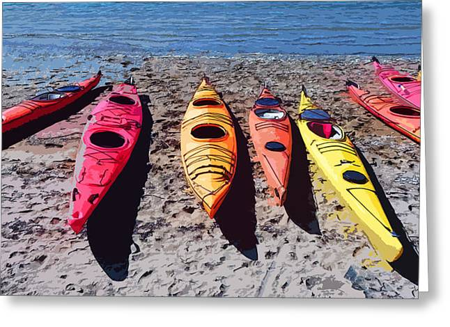 Kayak Mixed Media Greeting Cards - Pastel sea kayaks Greeting Card by Anthony Dalton