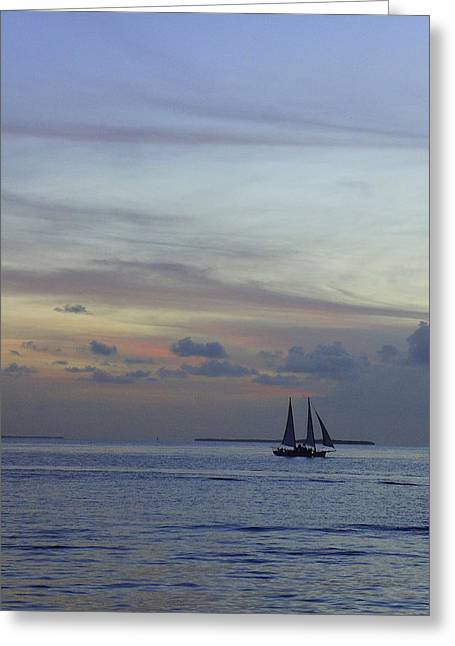 Boat Cruise Greeting Cards - Pastel Sky Greeting Card by Laurie Perry