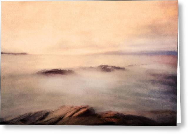 Fog Mist Mixed Media Greeting Cards - Pastel Soft Waters  Greeting Card by Georgiana Romanovna