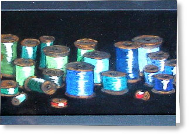 Antique Sewing Pastels Greeting Cards - Pastel Spools-coat Of Many Colors Greeting Card by Joseph Hawkins