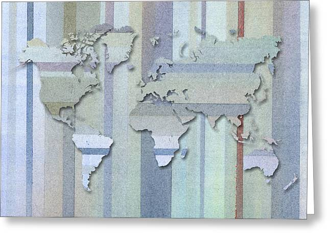 Lines Pastels Greeting Cards - Pastel Stripes World Map Greeting Card by Hakon Soreide