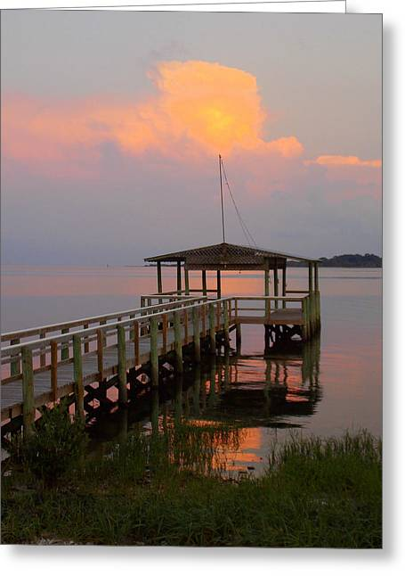 Cedar Key Greeting Cards - Pastel Sunset and Dock Greeting Card by Sheri McLeroy