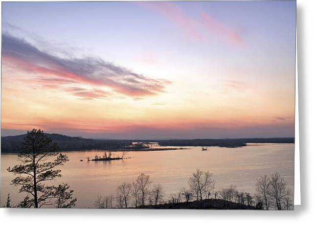 Conway Arkansas Greeting Cards - Pastel Sunset over the Arkansas River Greeting Card by Jason Politte