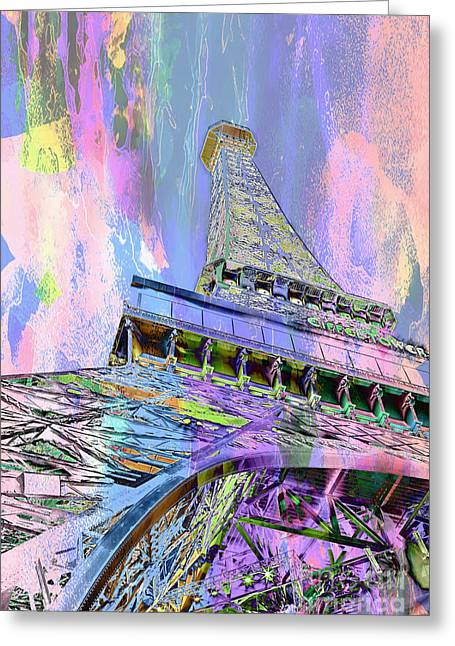 Eiffel Tower Greeting Cards - Pastel Tower Greeting Card by Az Jackson