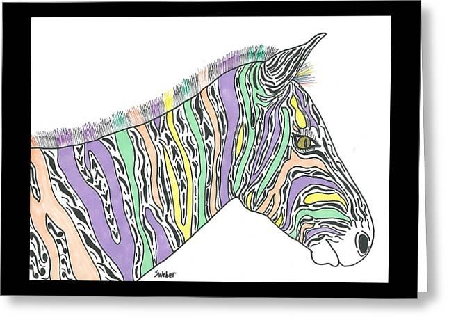 Pastel Zebra  Greeting Card by Susie Weber