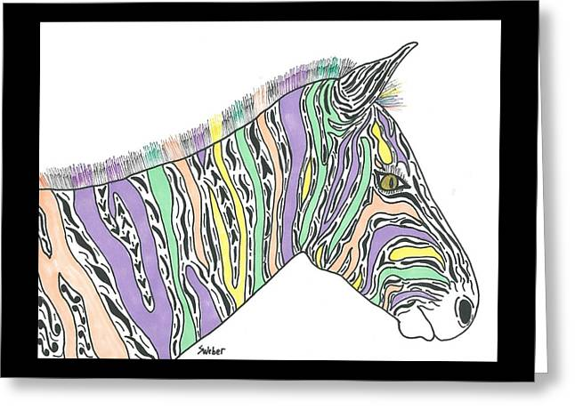 Susie Weber Greeting Cards - Pastel Zebra  Greeting Card by Susie Weber