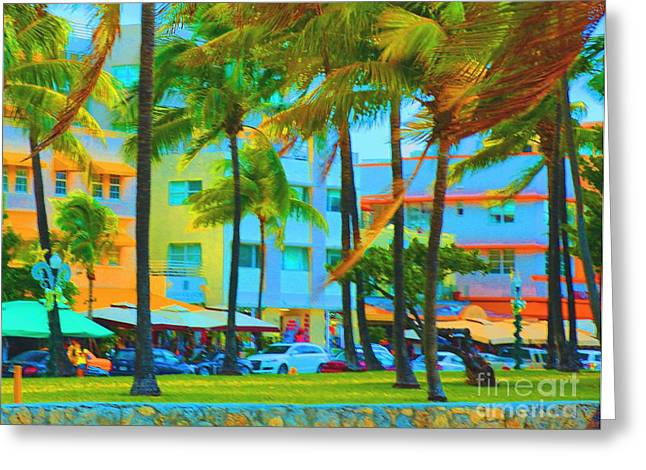 Miami Pastels Greeting Cards - pastels in Miami Greeting Card by Dan Hilsenrath