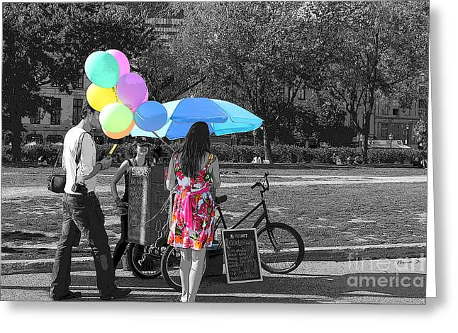 Balloon Vendor Greeting Cards - Pastels In The Park Greeting Card by Nina Silver