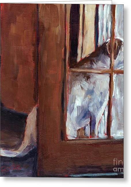 Dog In Window Greeting Cards - Pastime Greeting Card by Molly Poole