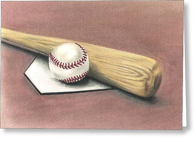 Baseball Bat Drawings Greeting Cards - Pastime Greeting Card by Troy Levesque