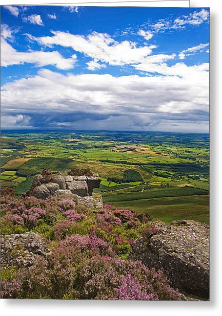 Lough Greeting Cards - Pastoral Fields From Above Coumshingaun Greeting Card by Panoramic Images