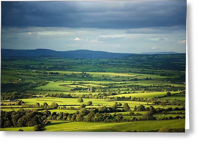 Field. Cloud Greeting Cards - Pastoral Fields, Near Clonea, County Greeting Card by Panoramic Images