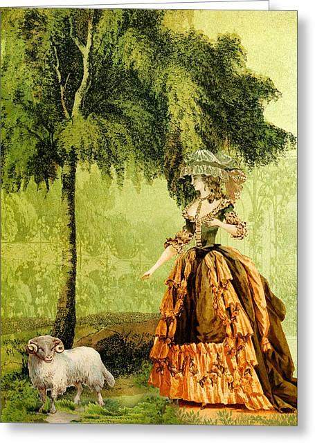 Pastoral Lady Greeting Card by Sarah Vernon