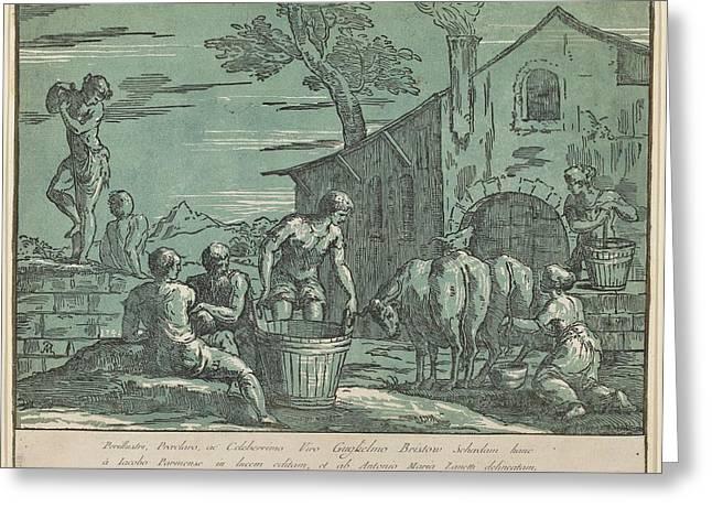 Conte Greeting Cards - Pastoral Scene Greeting Card by conte Antonio Maria Zanetti I after Bertoia