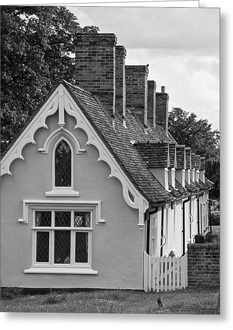 Row Of Houses Greeting Cards - Pastoral Scene - Thaxted Almshouses Black and White Vertical Greeting Card by Gill Billington