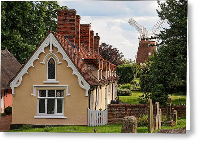 Pastoral Scene - Thaxted Almshouses Greeting Card by Gill Billington