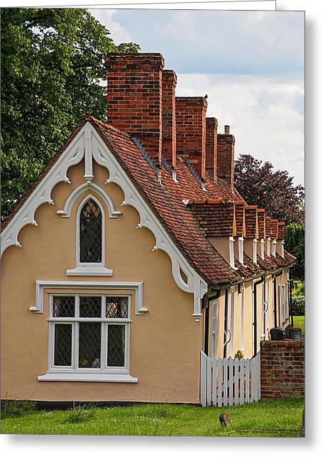 Row Of Houses Greeting Cards - Pastoral Scene - Thaxted Almshouses Vertical Greeting Card by Gill Billington