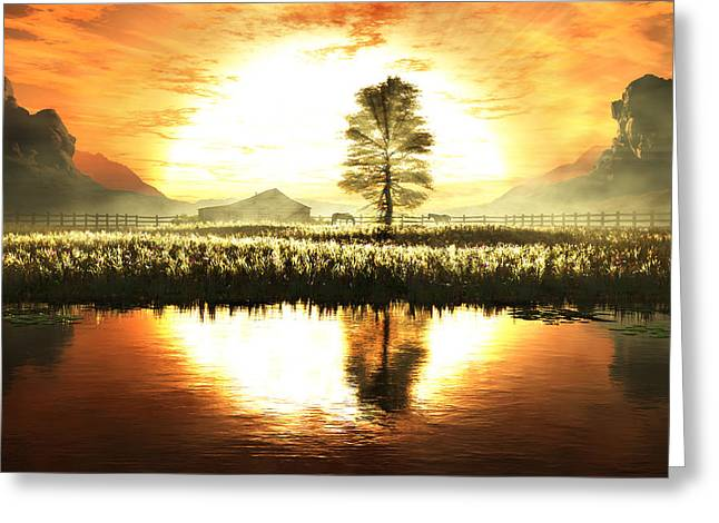 Wheat Field Sunset Print Greeting Cards - Pasture Bedtime Greeting Card by John Robichaud
