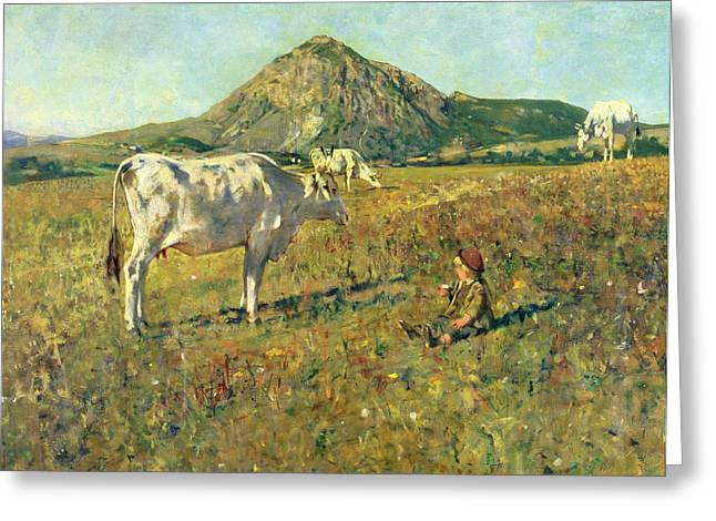 Sit-ins Greeting Cards - Pasture in Pietramala Greeting Card by Telemaco Signorini