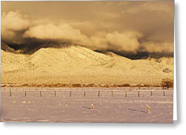 Pasture Land Covered In Snow At Sunset Greeting Card by Panoramic Images