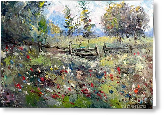 Lee Piper Art Greeting Cards - Pasture With Fence Greeting Card by Lee Piper