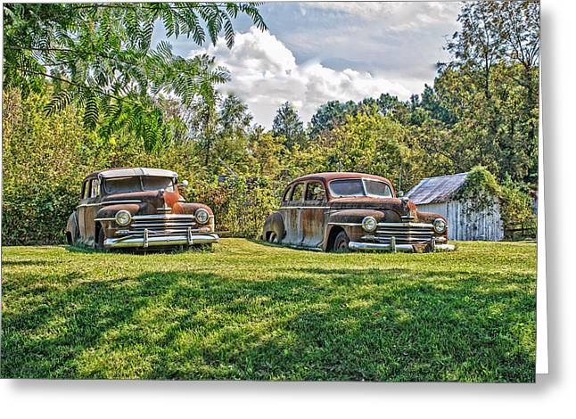 Car 47 Greeting Cards - Pastured Plymouths in Missouri Greeting Card by Kevin Anderson