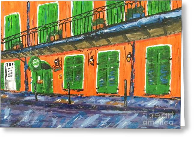 Saloons Paintings Greeting Cards - Pat OBriens Greeting Card by JoAnn Wheeler