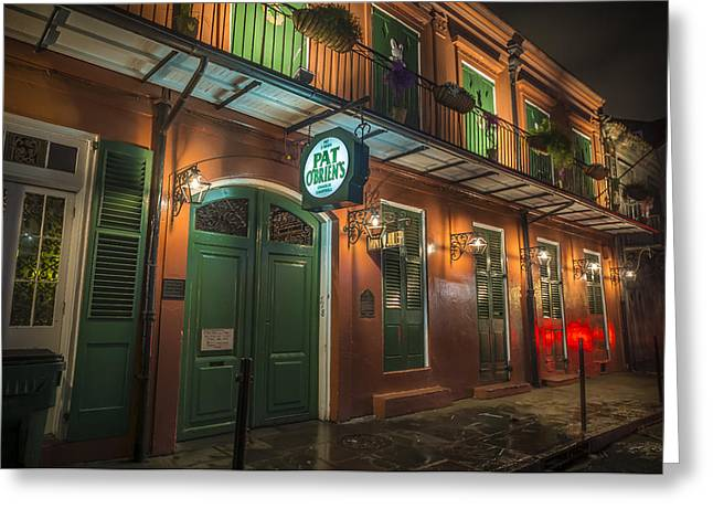 Mardis Greeting Cards - Pat OBriens New Orleans Greeting Card by David Morefield