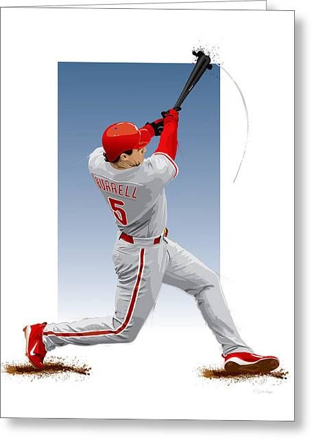 Phillies Digital Greeting Cards - Pat the bat Burrell Greeting Card by Scott Weigner
