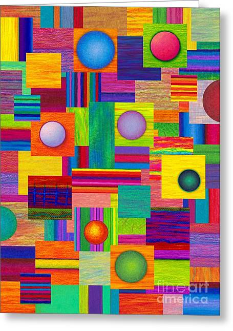 Colored Pencil Abstract Greeting Cards - Patches Greeting Card by David K Small