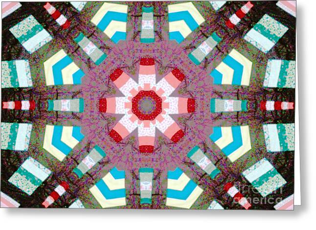 Bright Colors Tapestries - Textiles Greeting Cards - Patchwork Art Greeting Card by Barbara Griffin