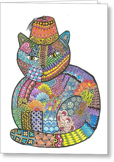 Fandom Greeting Cards - Patchwork Cat IV Kitty with a Fez Greeting Card by Rebecca Klingbeil