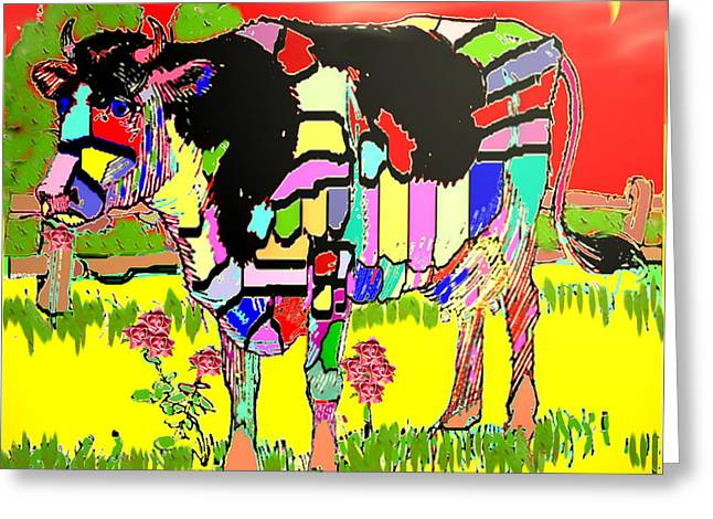 Spacial Greeting Cards - Patchwork Cow Greeting Card by Joyce Dickens
