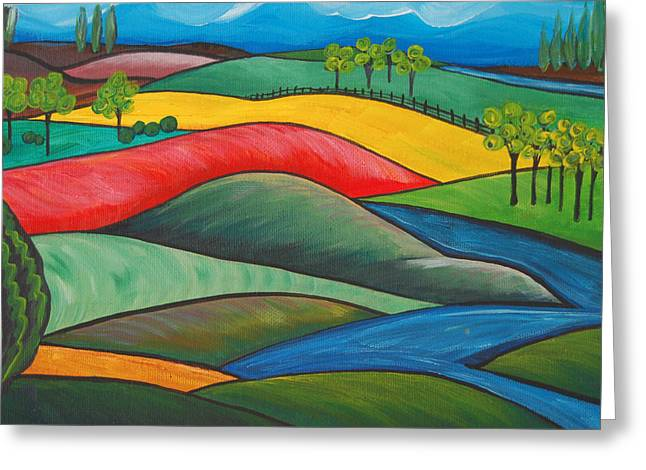 Energize Paintings Greeting Cards - Patchwork Hills Greeting Card by Cynthia von Kloeter