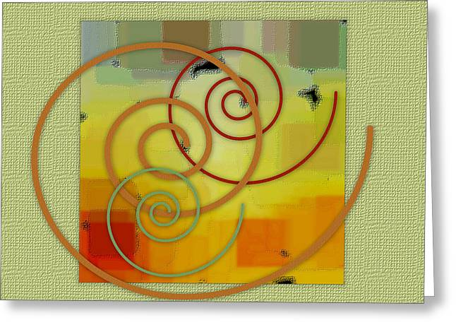 Green And Yellow Abstract Greeting Cards - Patchwork I Greeting Card by Ben and Raisa Gertsberg