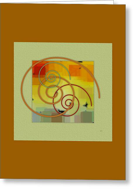 Green And Yellow Abstract Digital Greeting Cards - Patchwork II Greeting Card by Ben and Raisa Gertsberg
