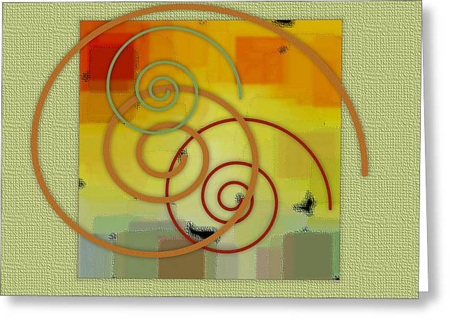 Green And Yellow Abstract Greeting Cards - Patchwork II Greeting Card by Ben and Raisa Gertsberg