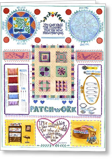 Julia Rowntree Greeting Cards - Patchwork Greeting Card by Julia Rowntree