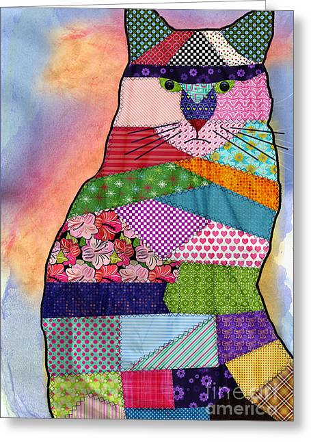 Geometric Animal Greeting Cards - Patchwork Kitty Greeting Card by Juli Scalzi