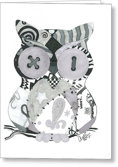 Pen And Ink Drawing Digital Art Greeting Cards - Patchwork Owl Greeting Card by Amanda Bright