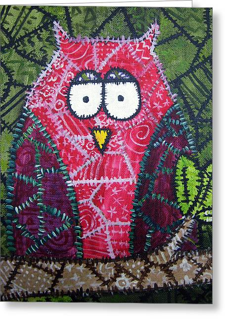 Patchwork Owl - Red Greeting Card by Stacey Clarke