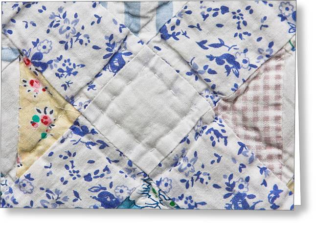 Duvet Greeting Cards - Patchwork quilt Greeting Card by Tom Gowanlock