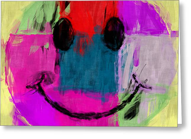 Smiley Faces Greeting Cards - Patchwork Smiley Face Greeting Card by David G Paul